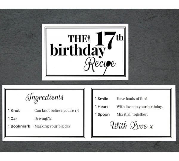 The Little 17th Birthday Recipe - Cards - Lifes Little Recipes