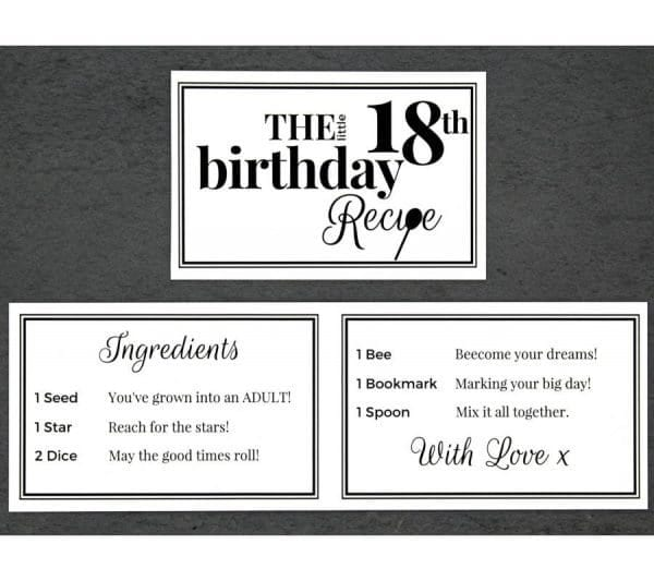 The Little 18th Birthday Recipe - Cards - Lifes Little Recipes