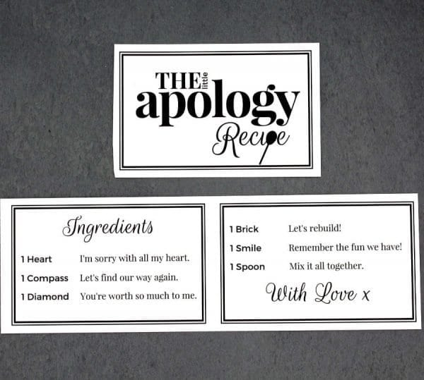 The Little Apology Recipe - Cards - Lifes Little Recipes